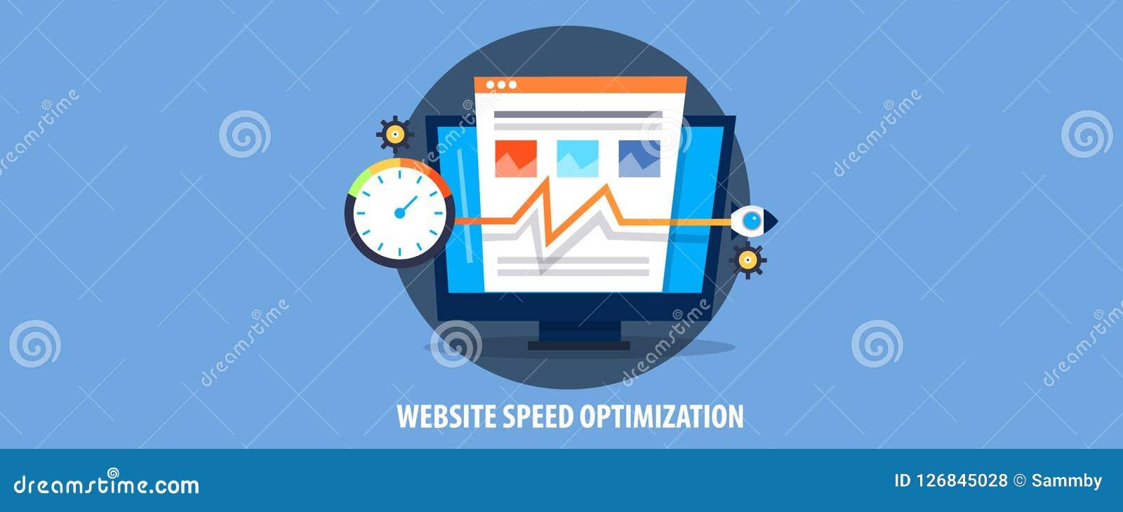 Modern concept de optimalisering van de websitesnelheid, de snelheid van de de websitelading van de raketverhoging Vlakke ontwerp