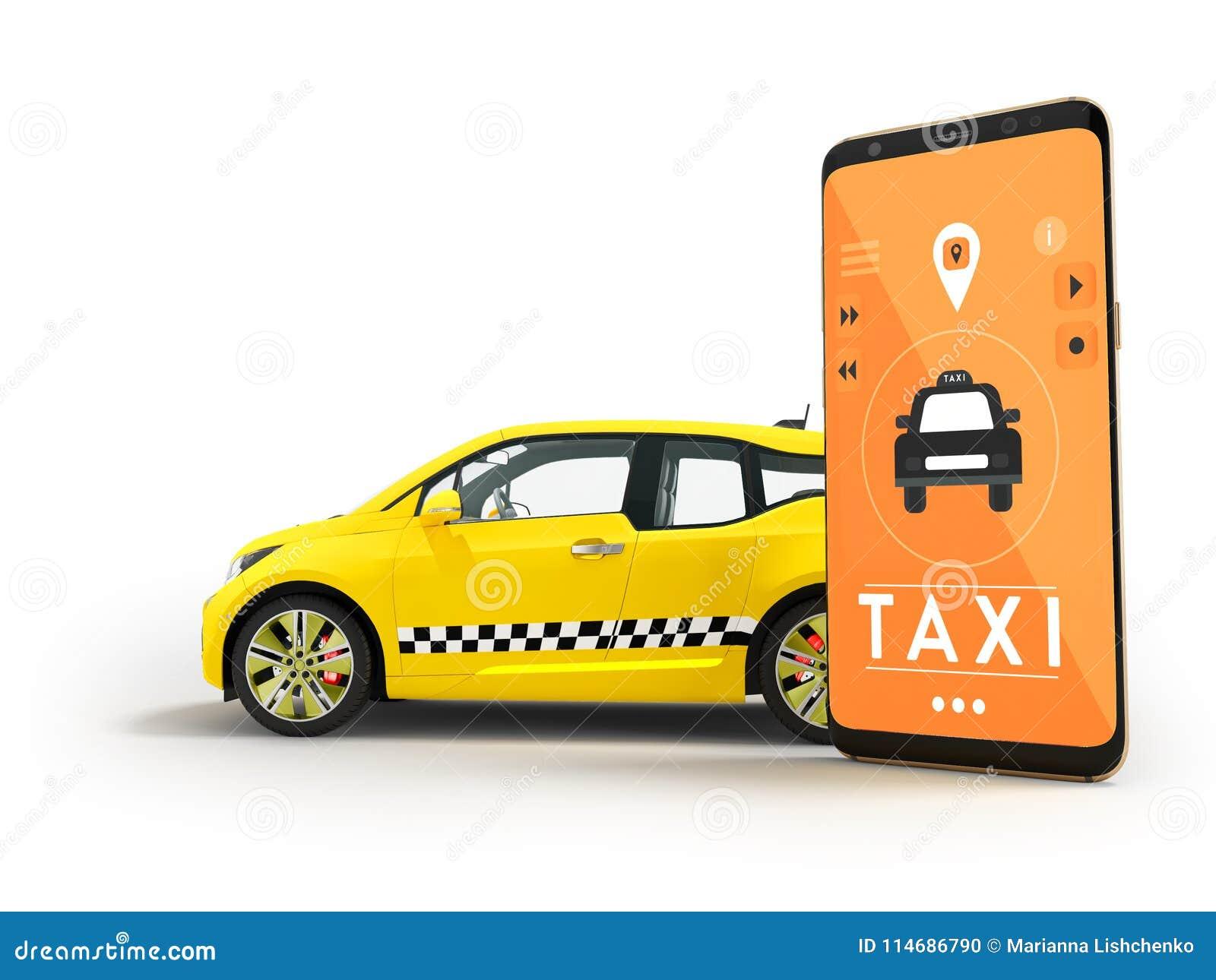 Modern Concept Die Taxi Een Elektrische Auto Met Een Smartphone