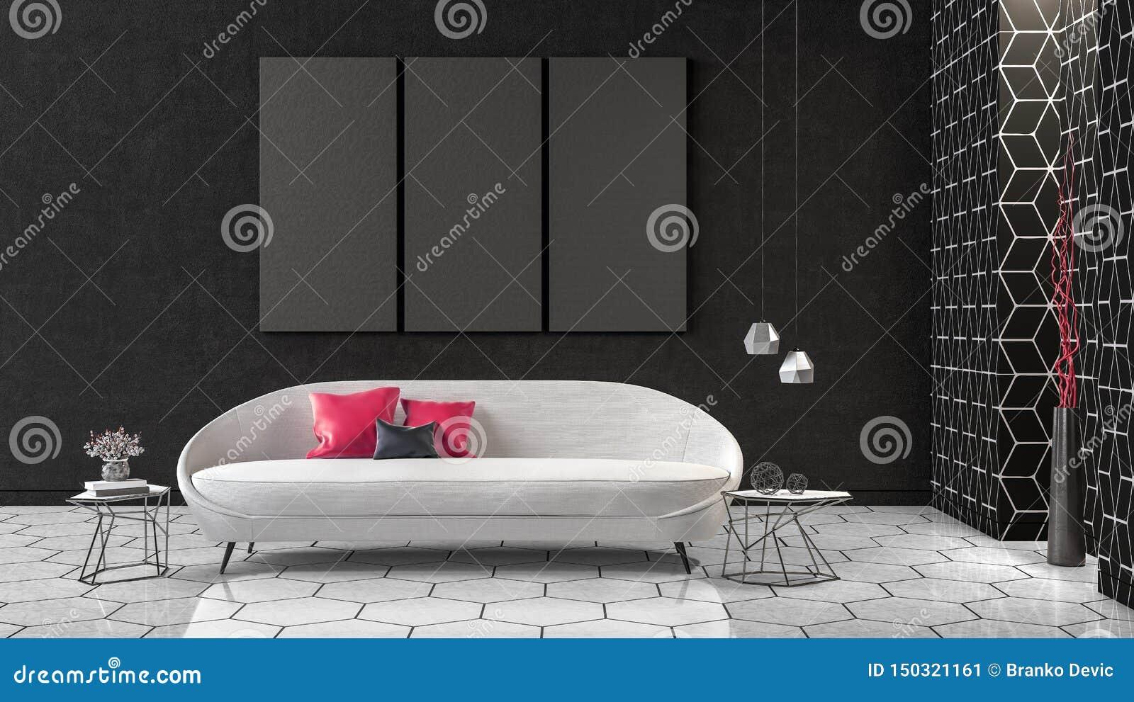 Modern Concept interior design of black and white living room, 3d Render