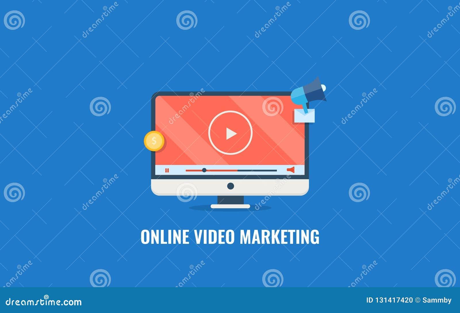 Online video marketing, digital content promotion, audience engagement, social media promotion. Flat design vector banner.