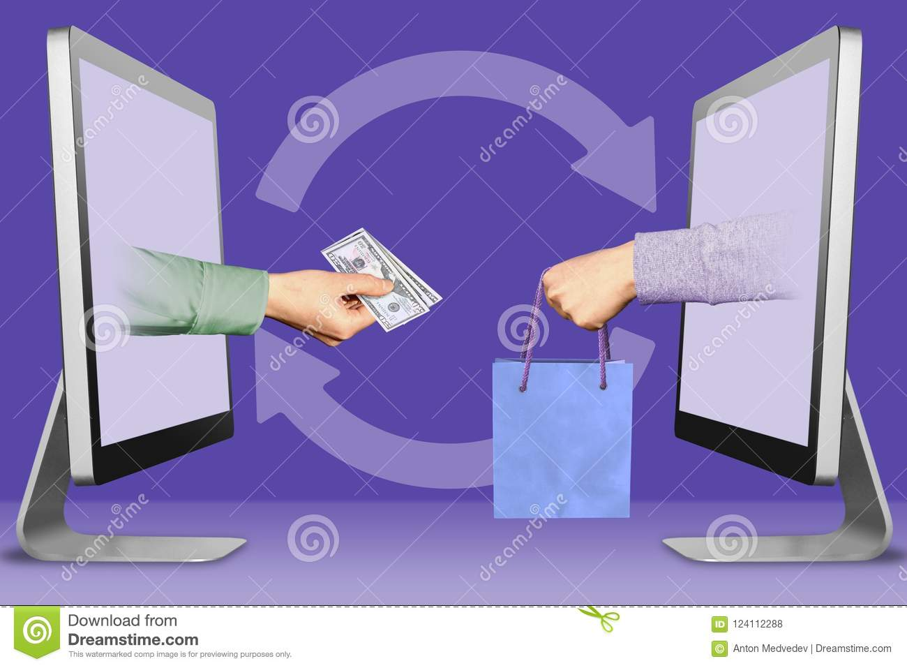 Modern Concept, Two Hands From Displays  Hand With Cash Money And
