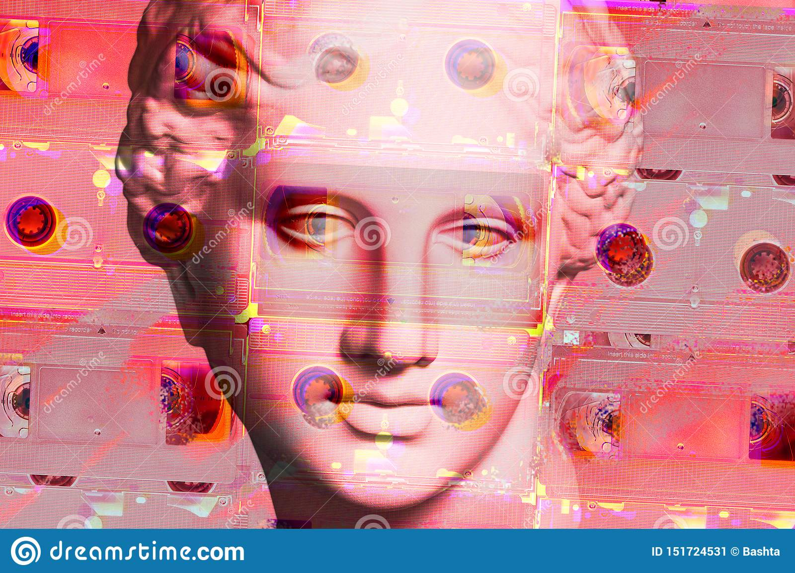 Modern conceptual art poster with face ancient statue and vhs cassete. Collage of contemporary art.