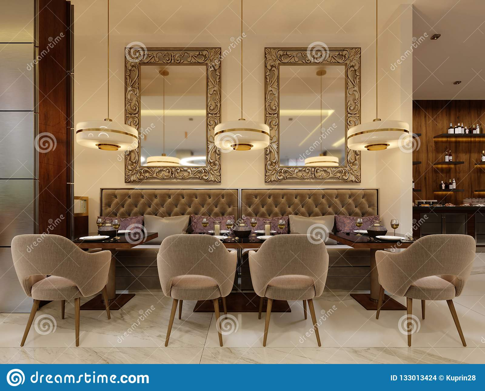 The Modern Conceptual Interior Design Of The Restaurant Is In