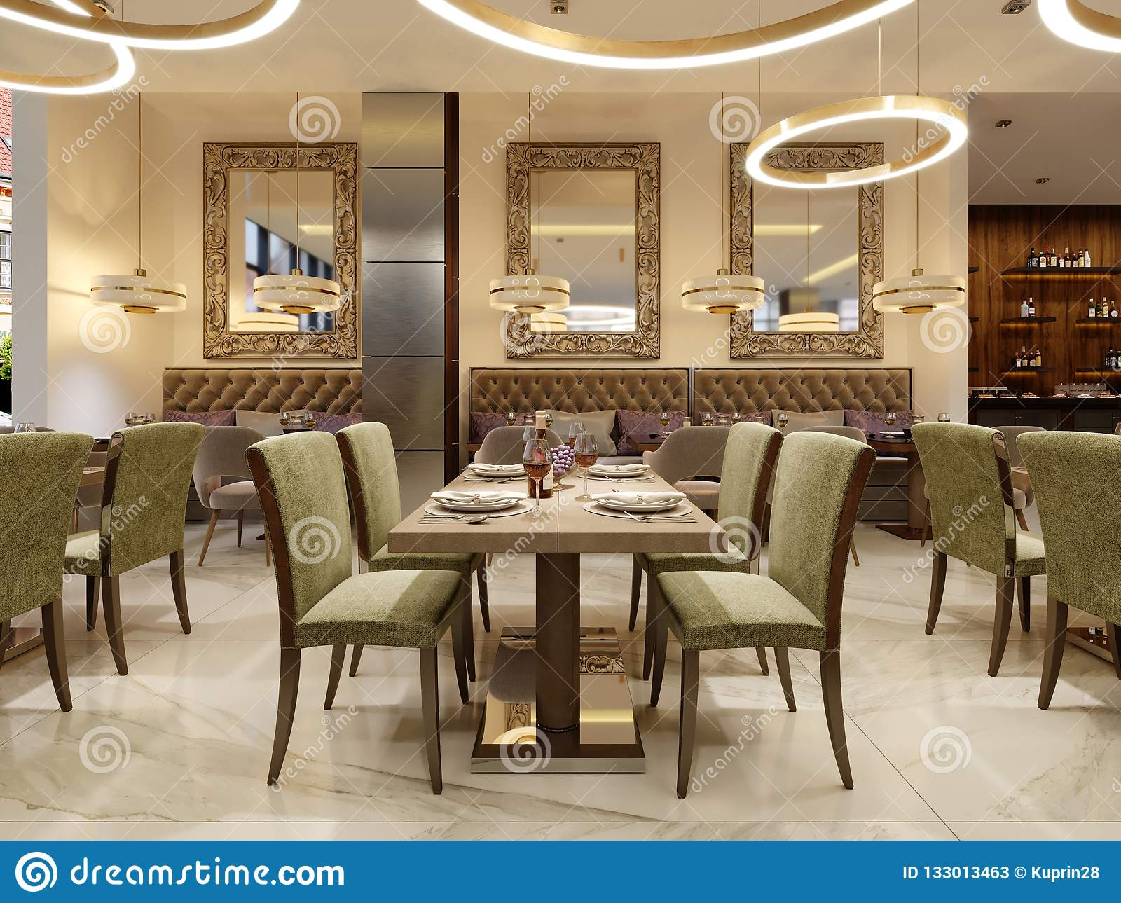 The Modern Conceptual Interior Design Of The Restaurant Is In Contemporary Style With Classic Elements Stock Illustration Illustration Of Decor Interior 133013463