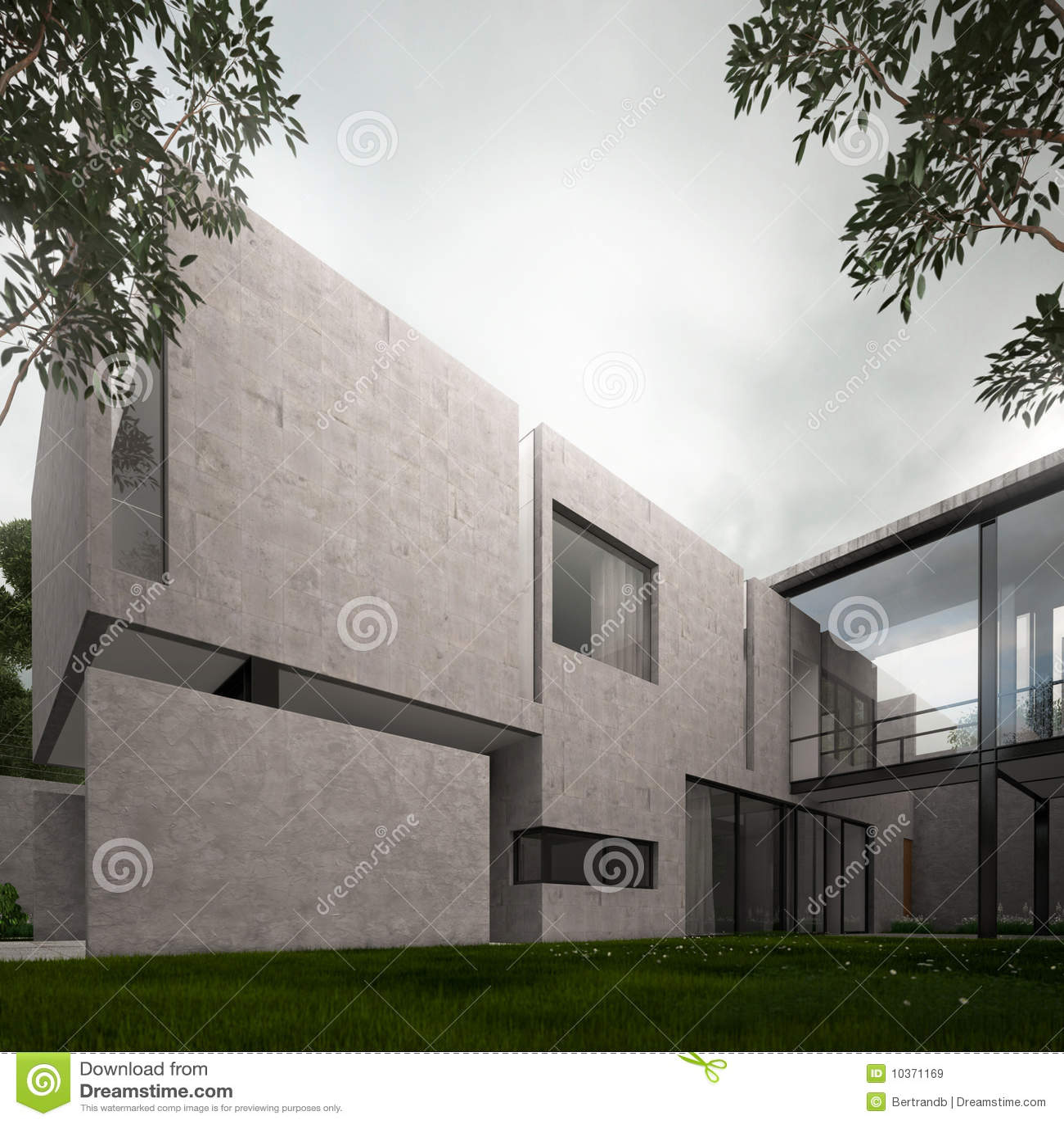 Modern concrete minimalist home royalty free stock images for Concrete minimalist house