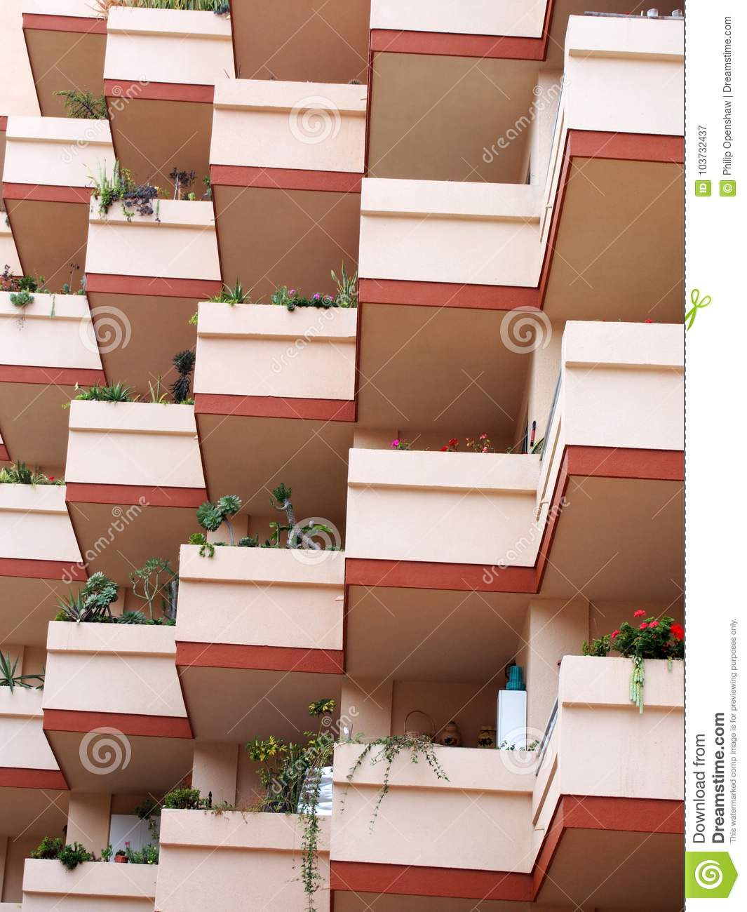 apartment balcony plants Modern Concrete Pink Apartment Blocks With Balconies And