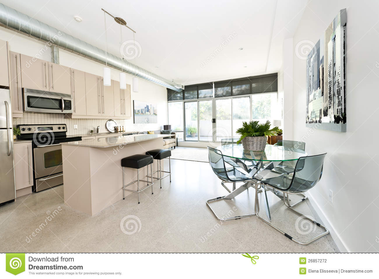 Modern Condo Kitchen Dining And Living Room Stock
