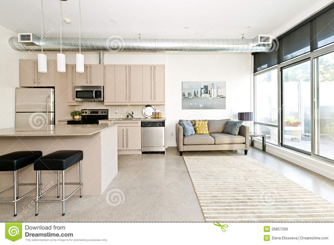 Modern condo kitchen and living room stock photo image for The family room design studio
