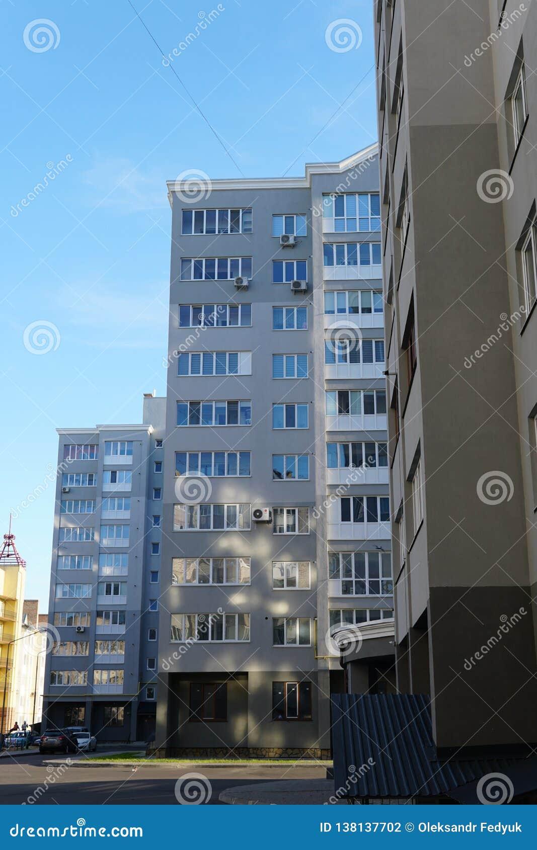 Modern condominium building real etate in city with blue sky