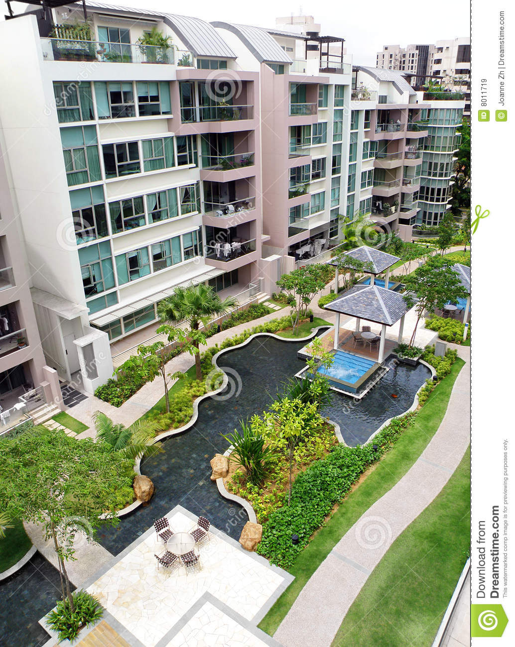Modern Condominium Exterior amp Landscaping Royalty Free