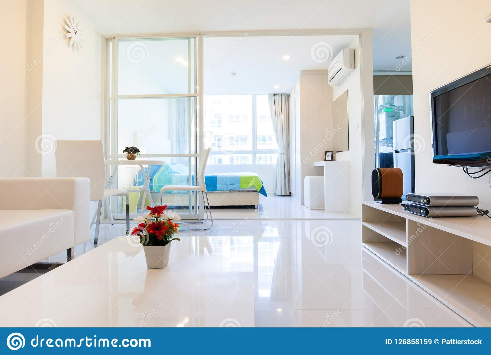Modern condominium living room and bedroom