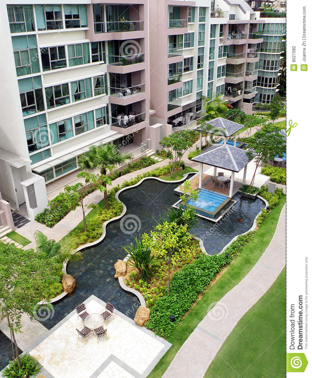 Landscape Design Outdoor Construction Residential: Modern Condominiums Garden Landscaping Stock Photo