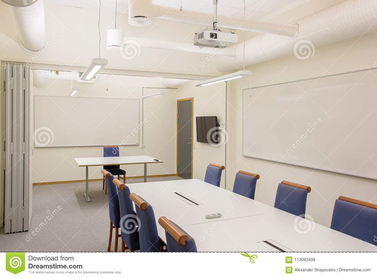 Modern office style Scandinavian Modern Conference Meeting Room Isolated White Office Table And Blue Chairs Business Concept Modern Office Style Dreamstimecom Modern Conference Meeting Room Isolated White Office Table And