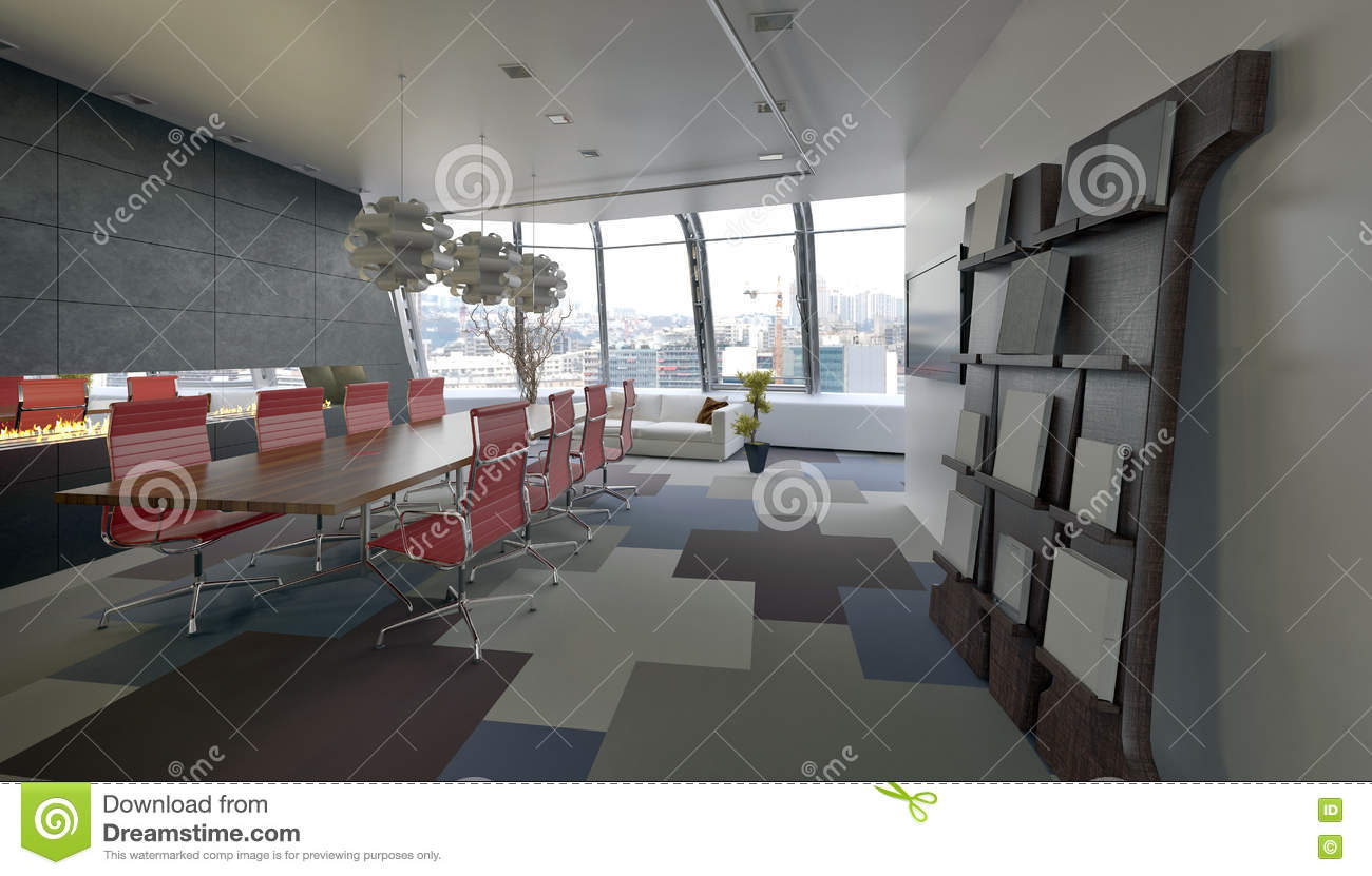 Modern Conference Room In A Company Office Stock Illustration - Long meeting table