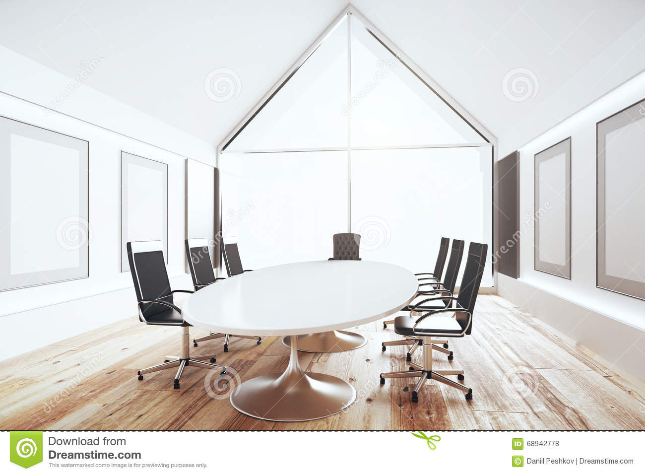 Modern Conference Room With White Table And Black Chairs