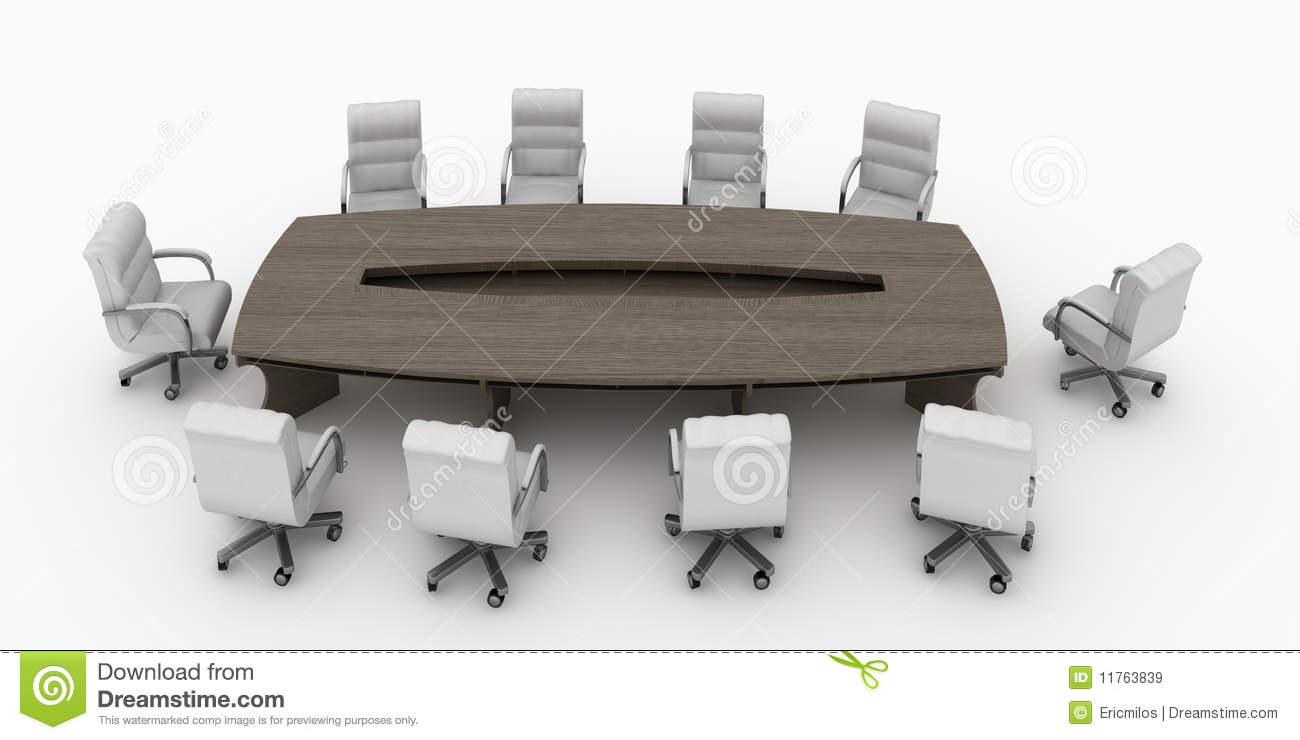 Modern Conference Table With Chairs Isolated Royalty Free