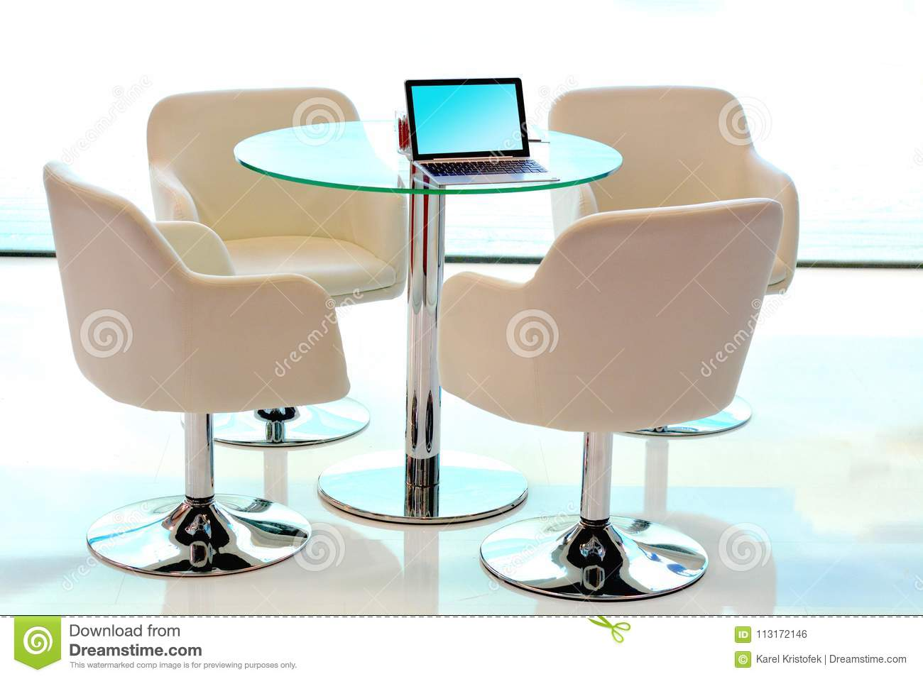 Enjoyable Modern Conference Table With Chairs Laptop Stock Photo Squirreltailoven Fun Painted Chair Ideas Images Squirreltailovenorg