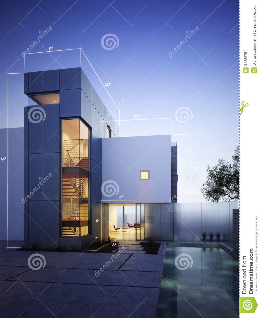 Modern construction with blueprint design accents stock for Construction moderne