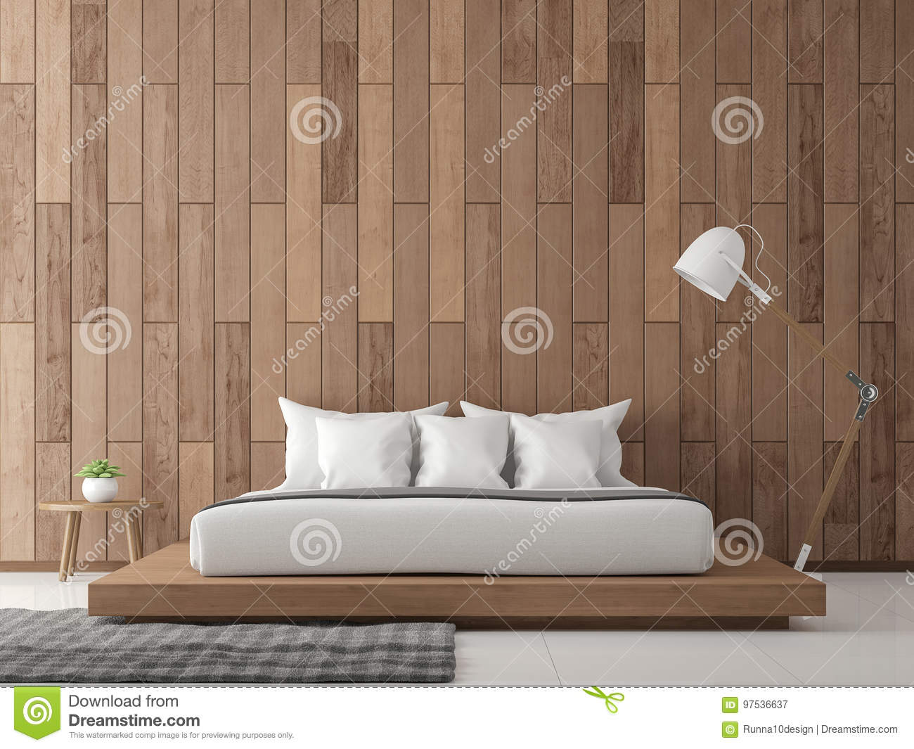 Modern contemporary bedroom interior d rendering image stock
