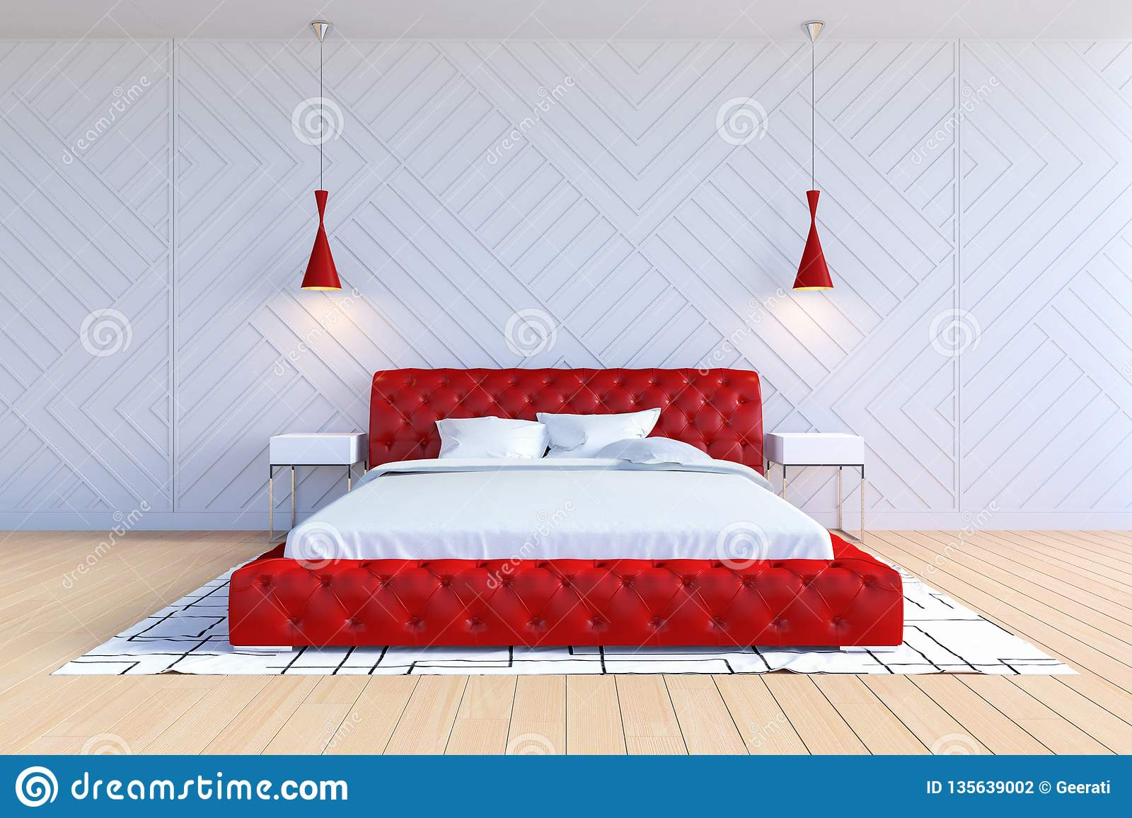 Modern Contemporary Bedroom Interior In White And Red Color ...