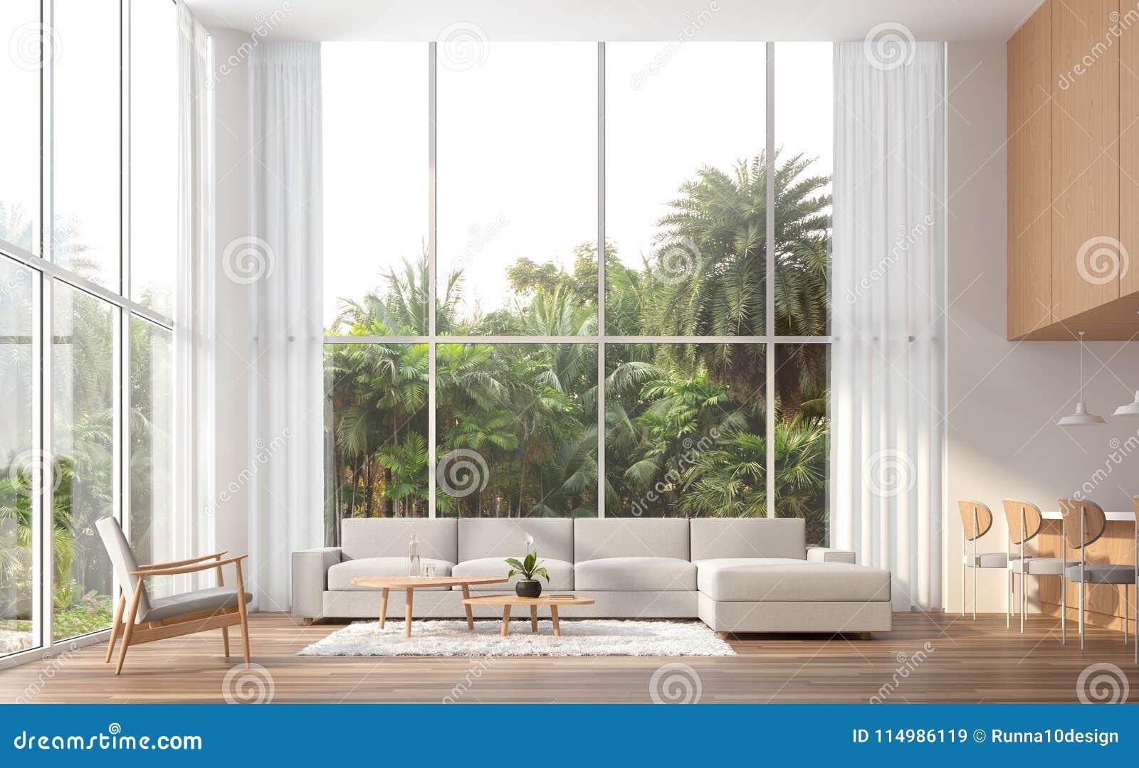 Modern Contemporary High Ceiling Living Room 3d Render Stock