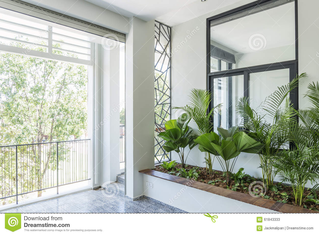 Modern Contemporary Interior Design Balcony Garden Stock