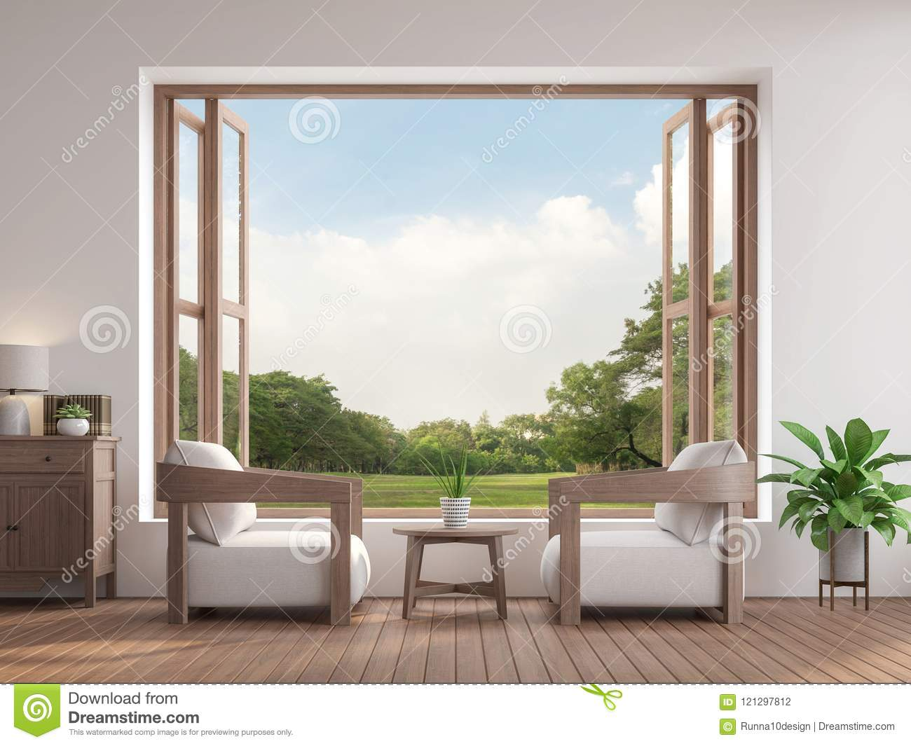 Modern contemporary living room 3d render,There are large open window overlooking to garden view.