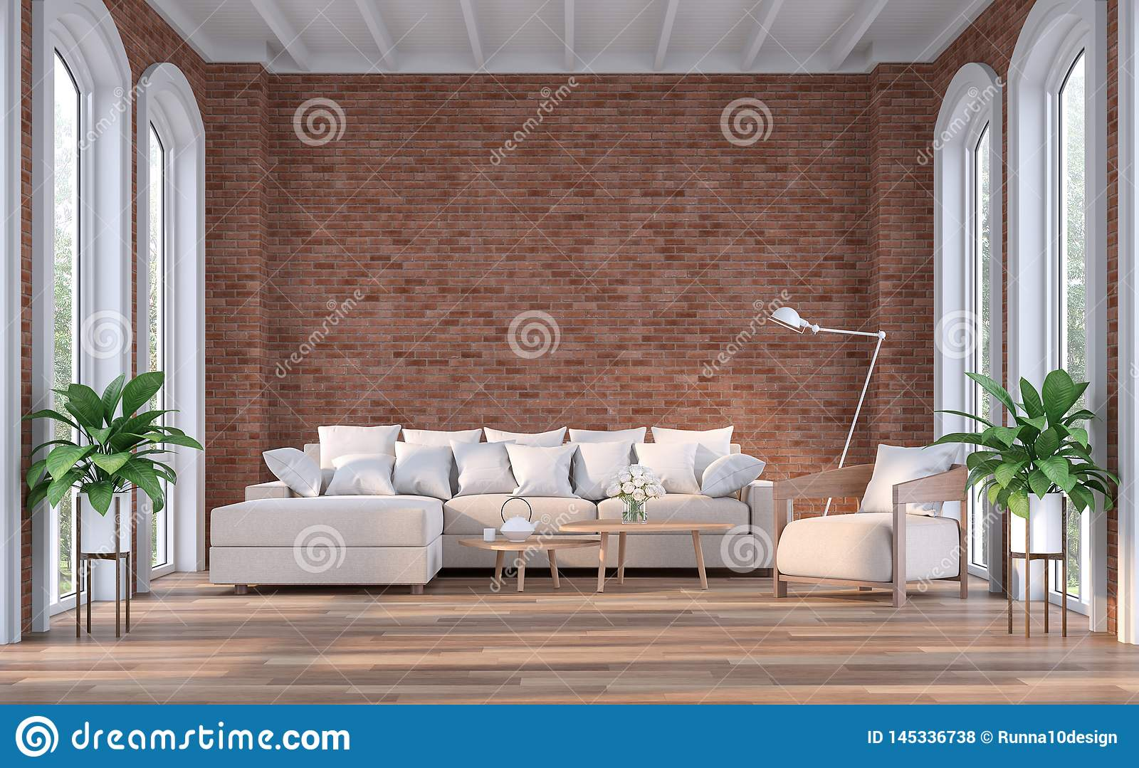Modern Contemporary Living Room With Red Brick Wall 3d ...