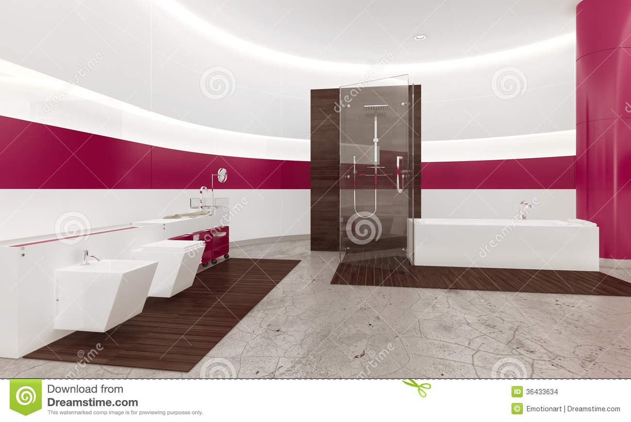 Modern contemporary white and pink bathroom interior stock for Salle de bain de luxe moderne