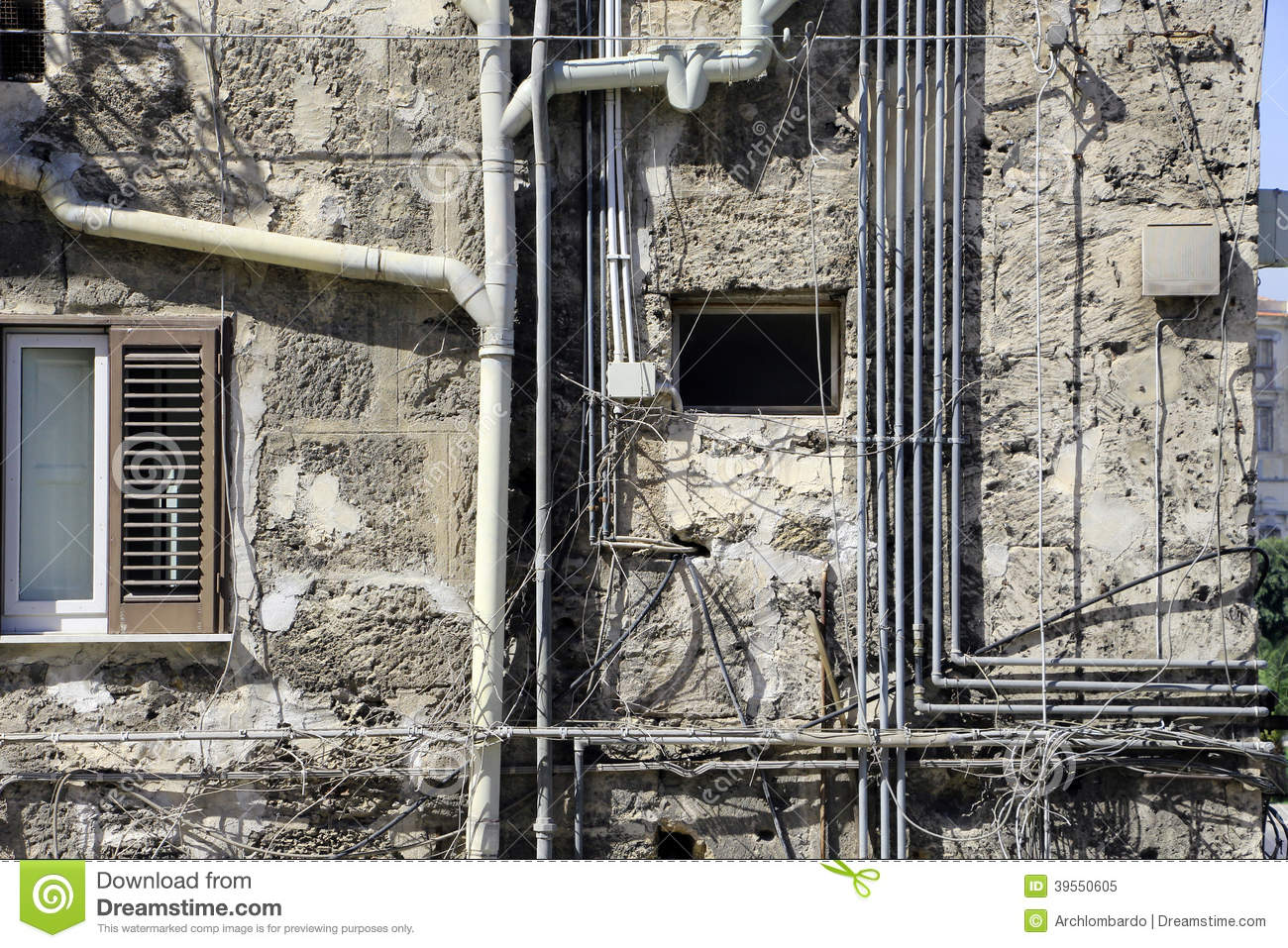 Modern contradictions mess of different pipes stock photo for What are old plumbing pipes made of