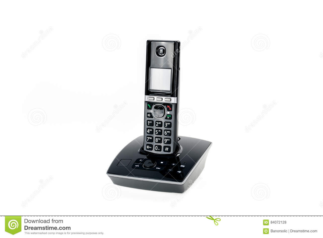 Modern cordless dect phone with answering machine isolated