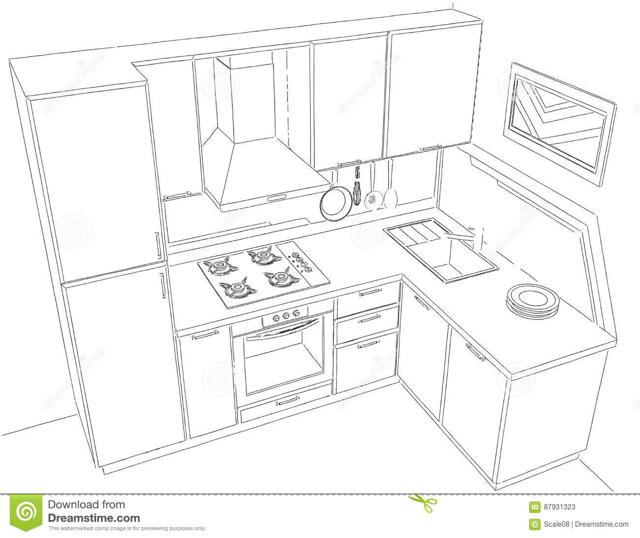 Kitchen perspective drawing - Black Corner Drawing Illustration Interior Kitchen Modern Outline Pencil Perspective