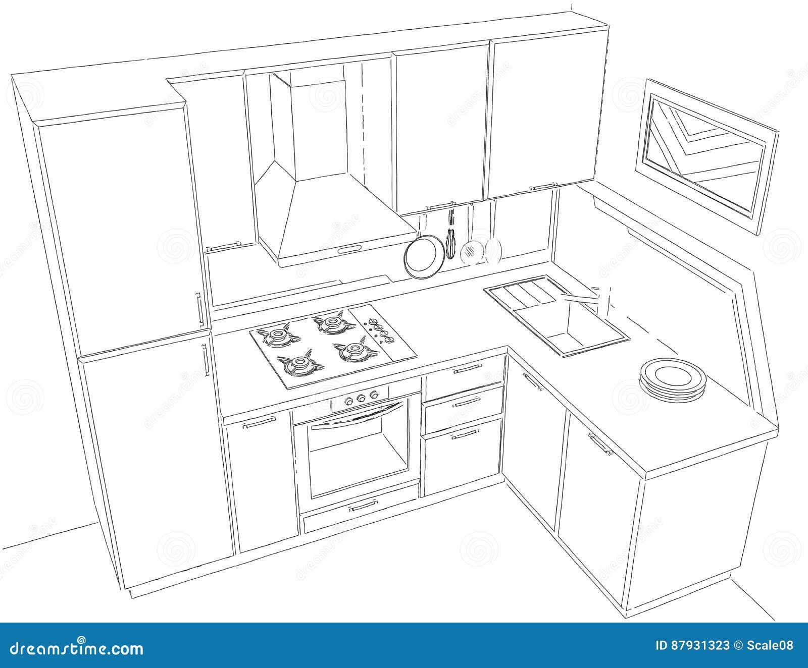 Modern corner kitchen interior pencil drawing