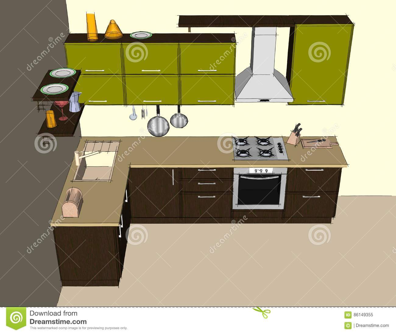 Modern Corner Kitchen Interior Top View Stock Illustration