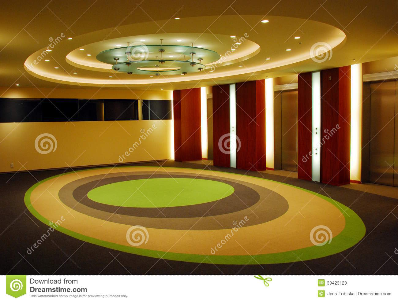 Corridor Design Ceiling: Modern Corridor With Egg-shaped Design Of Ceiling And
