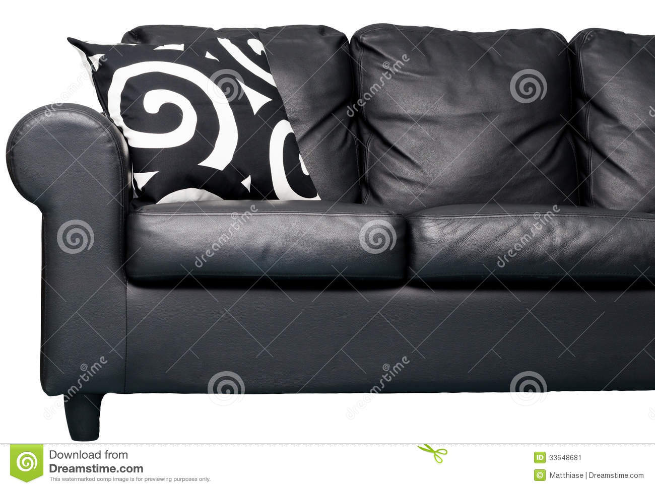 black couch stock image image 33648681