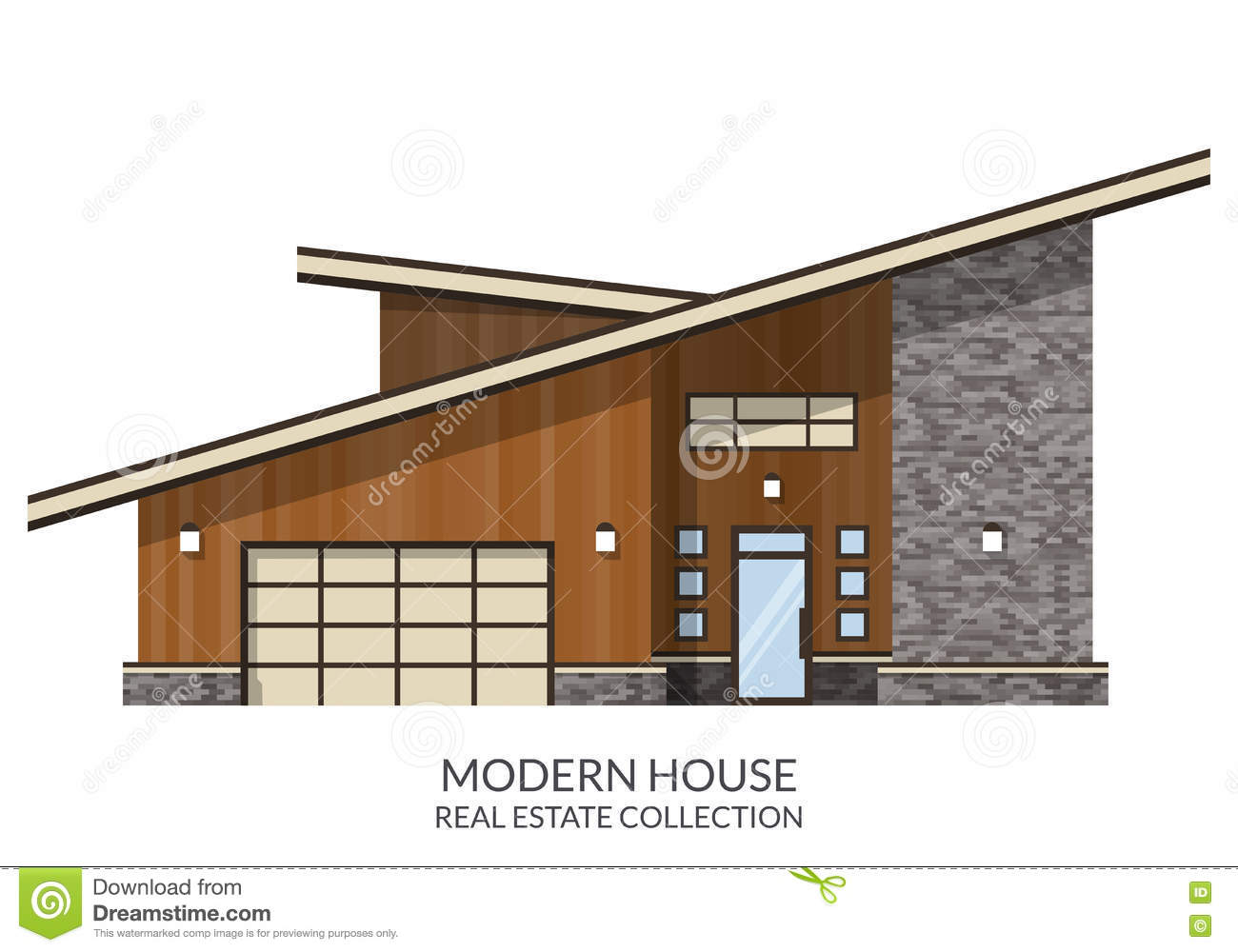 Modern country house, real estate sign in flat style.