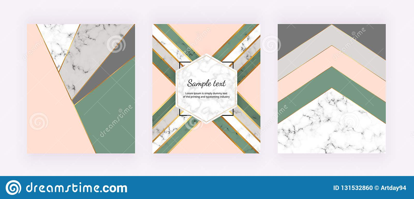 Modern cover with geometric design, golden lines, pink, grey and green triangular shapes. Fashion backgrounds for invitation, wedd