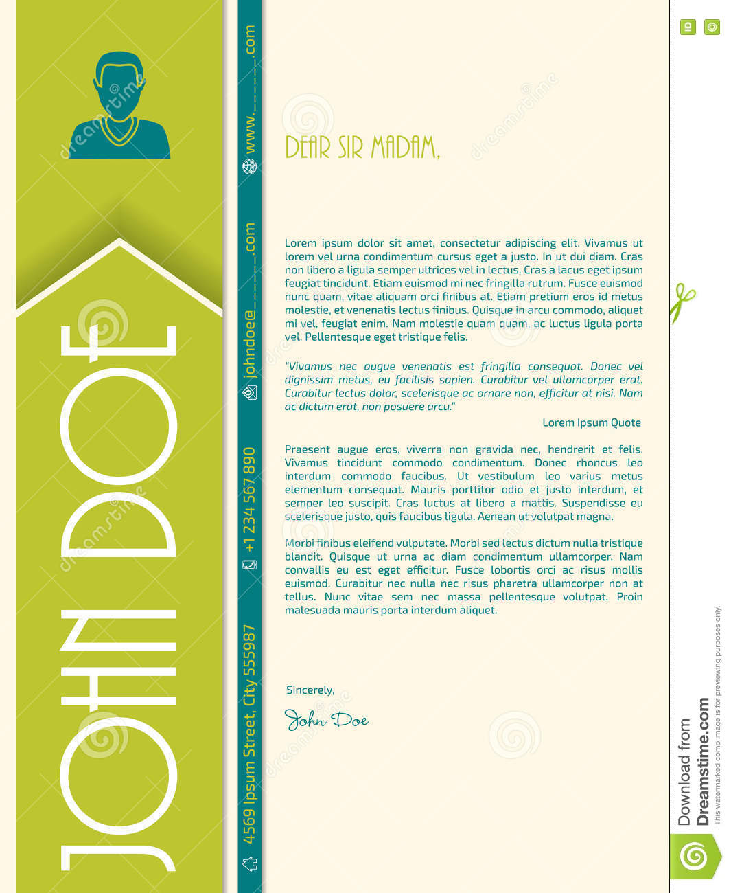 Modern Cover Letter Design With Big Letters For Name