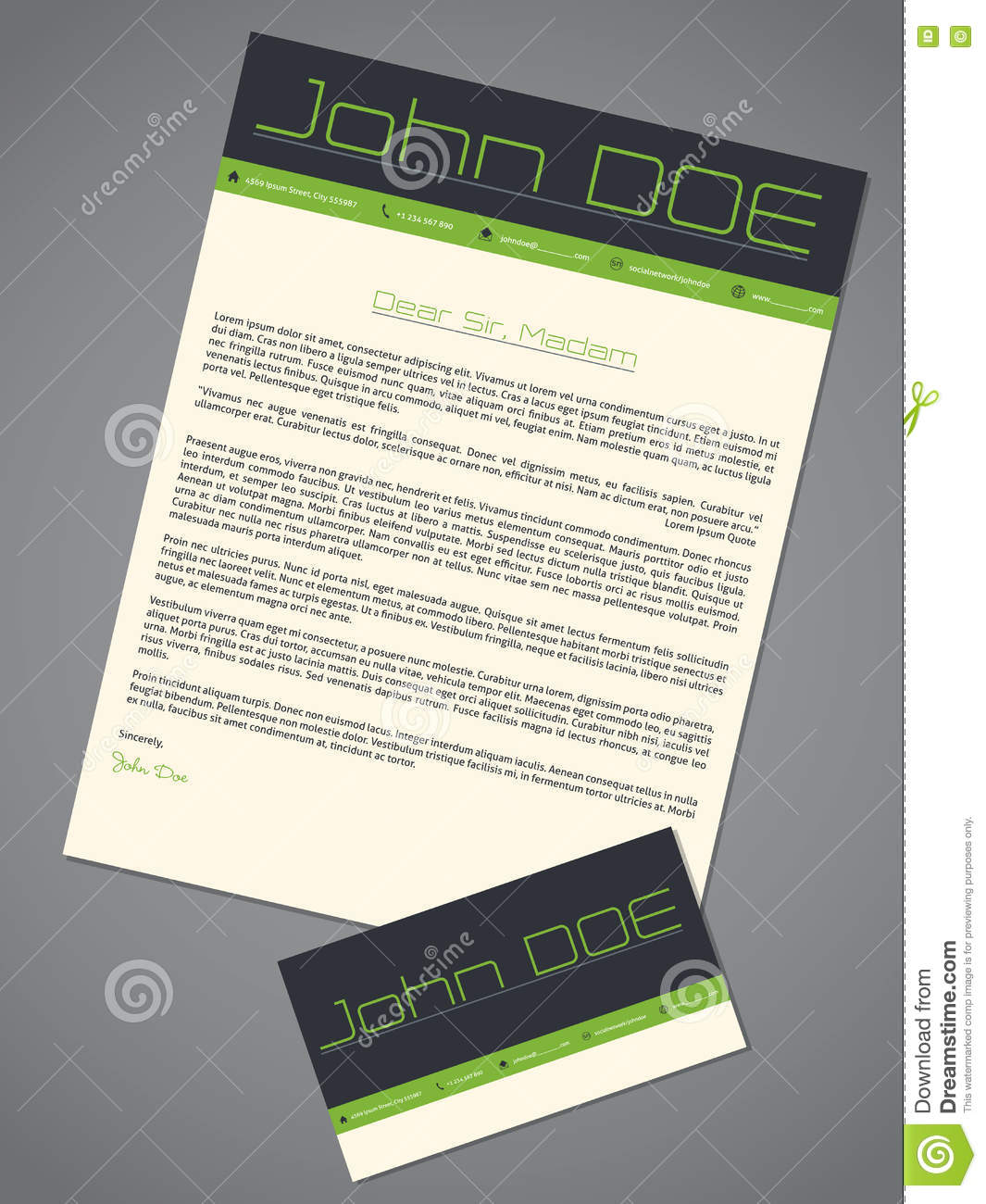 Modern Cover Letter Cv Resume Template Design In Green Gray Colors