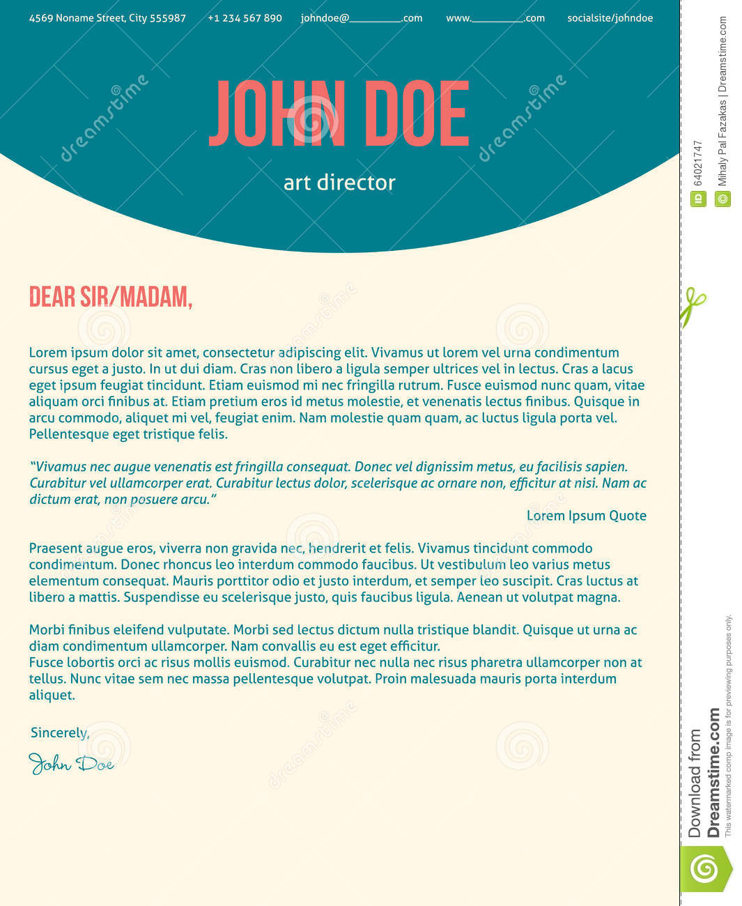 modern cover letter cv resume in turquoise red colors stock vector