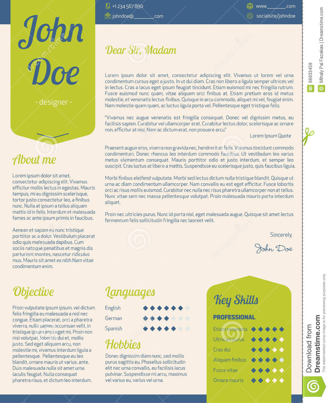 modern cover letter resume cv with green ribbons stock