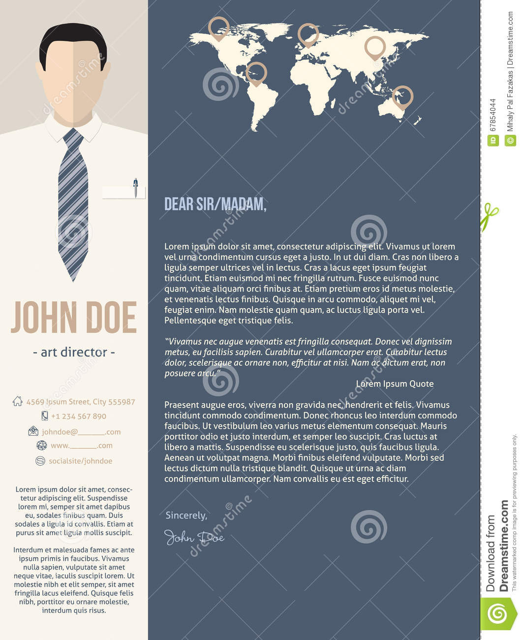 Modern Cover Letter Template With Business Man Stock Vector