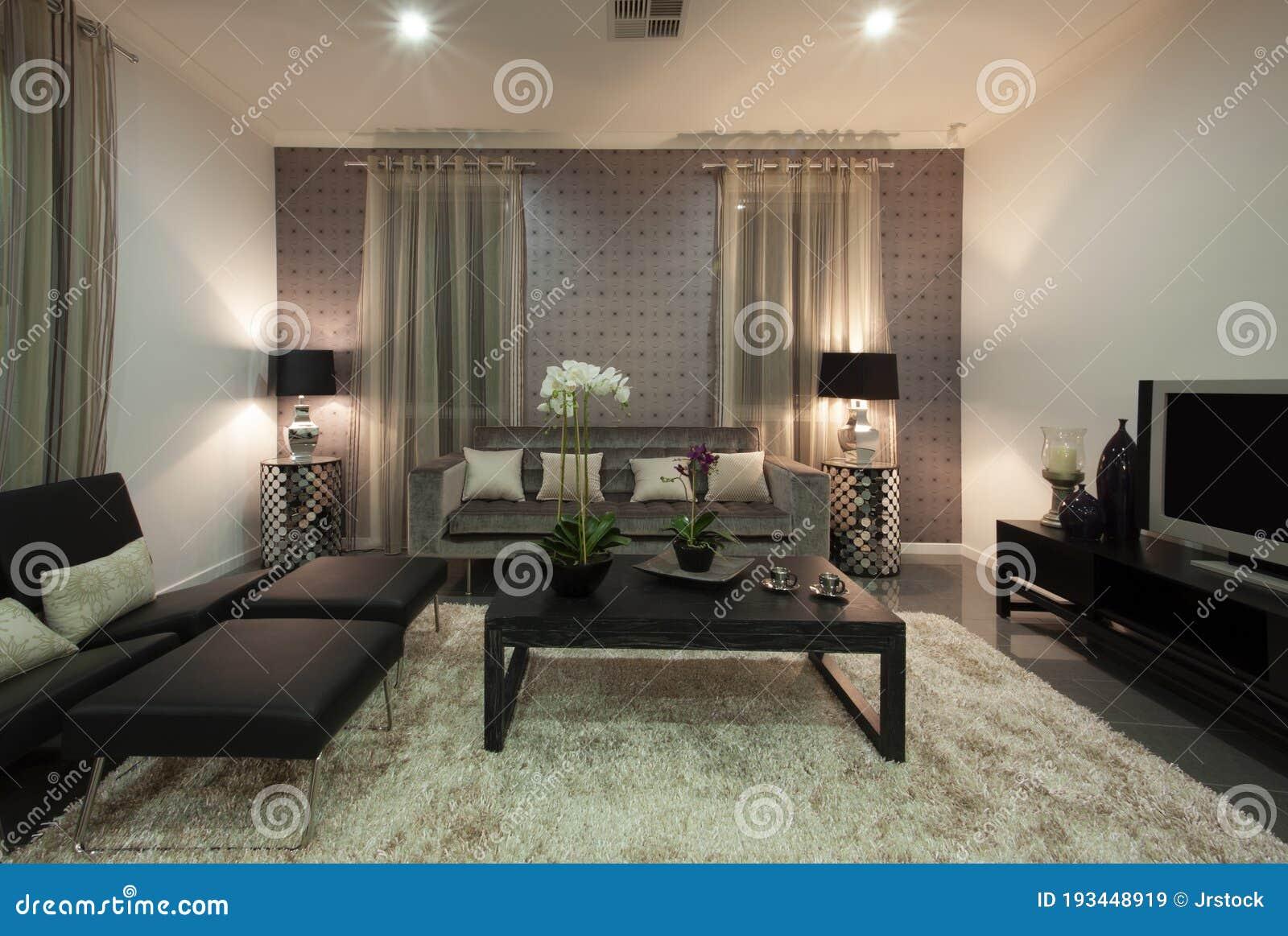 A Modern Cozy Living Room Interior Design Stock Image   Image of ...