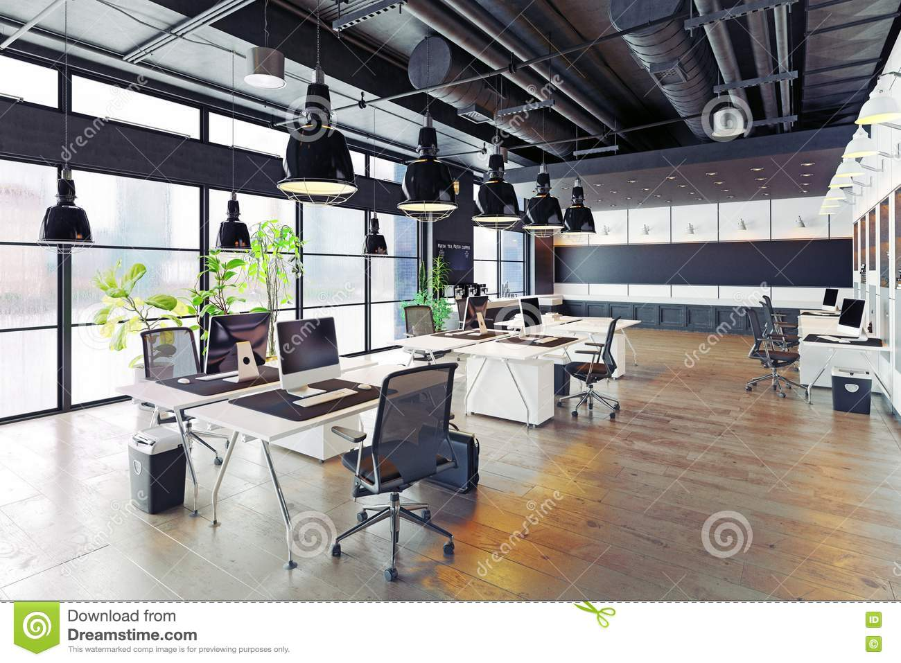 Cozy Modern Office Interior Inside Modern Cozy Loft Office Interior 3d Rendering Stock Illustration Illustration Of Glass