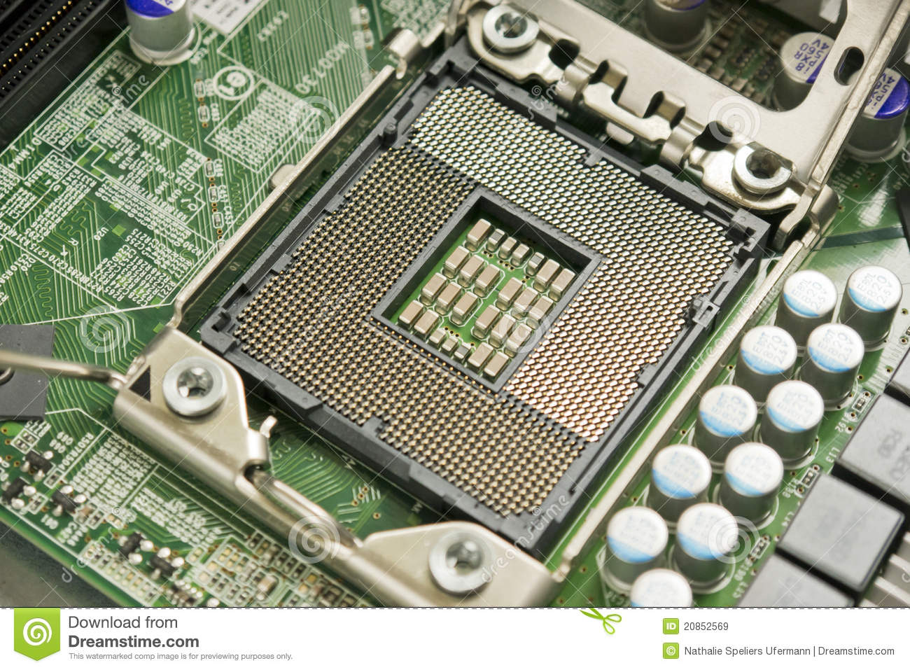 Modern CPU Socket from a 2011 computer with processor taken out.