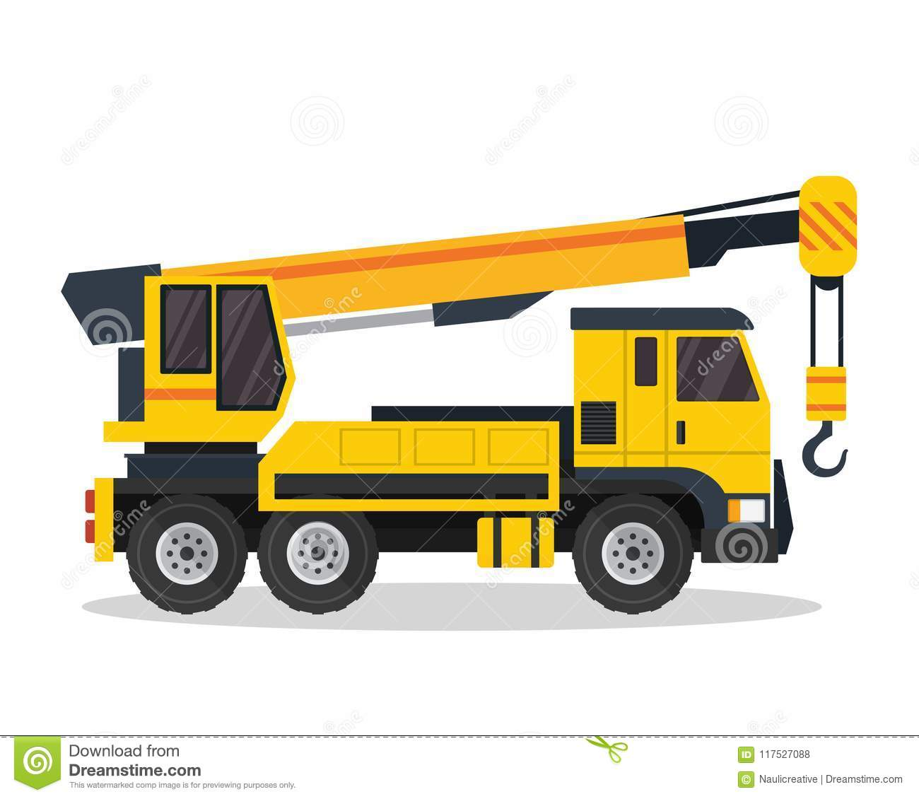 Modern Crane Truck Flat Construction Vehicle illustration