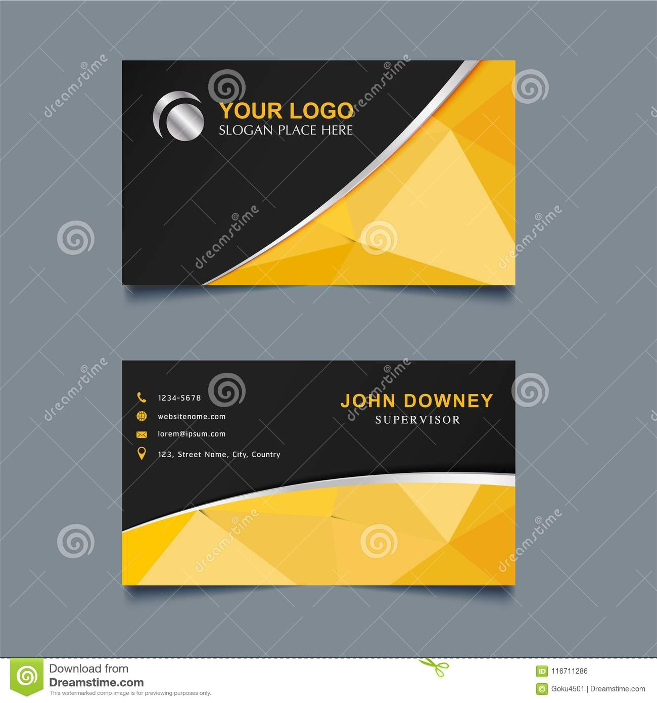 Modern Creative Business Card Template Double Sided. Stock ...