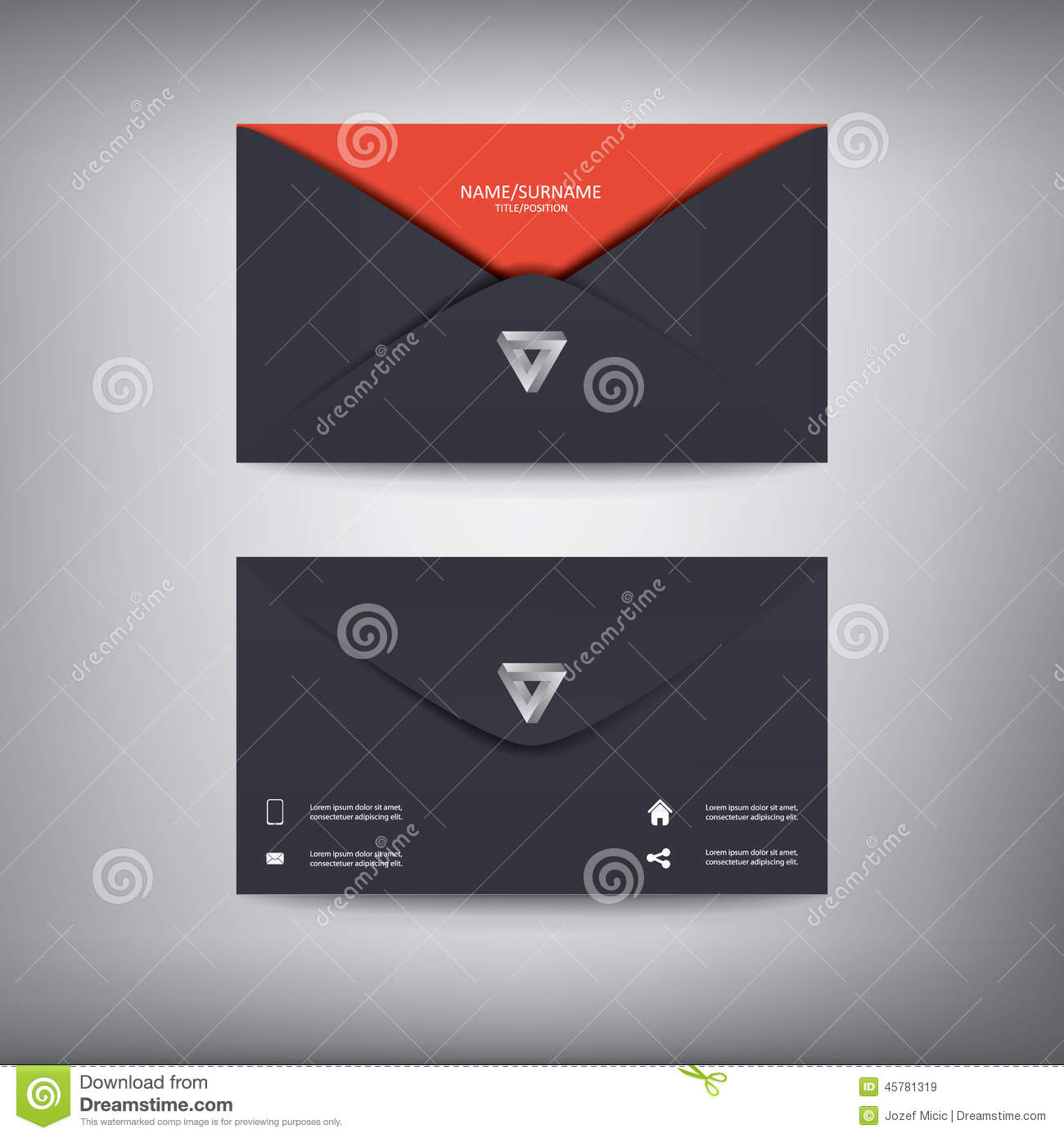 modern creative business card template in envelope stock vector