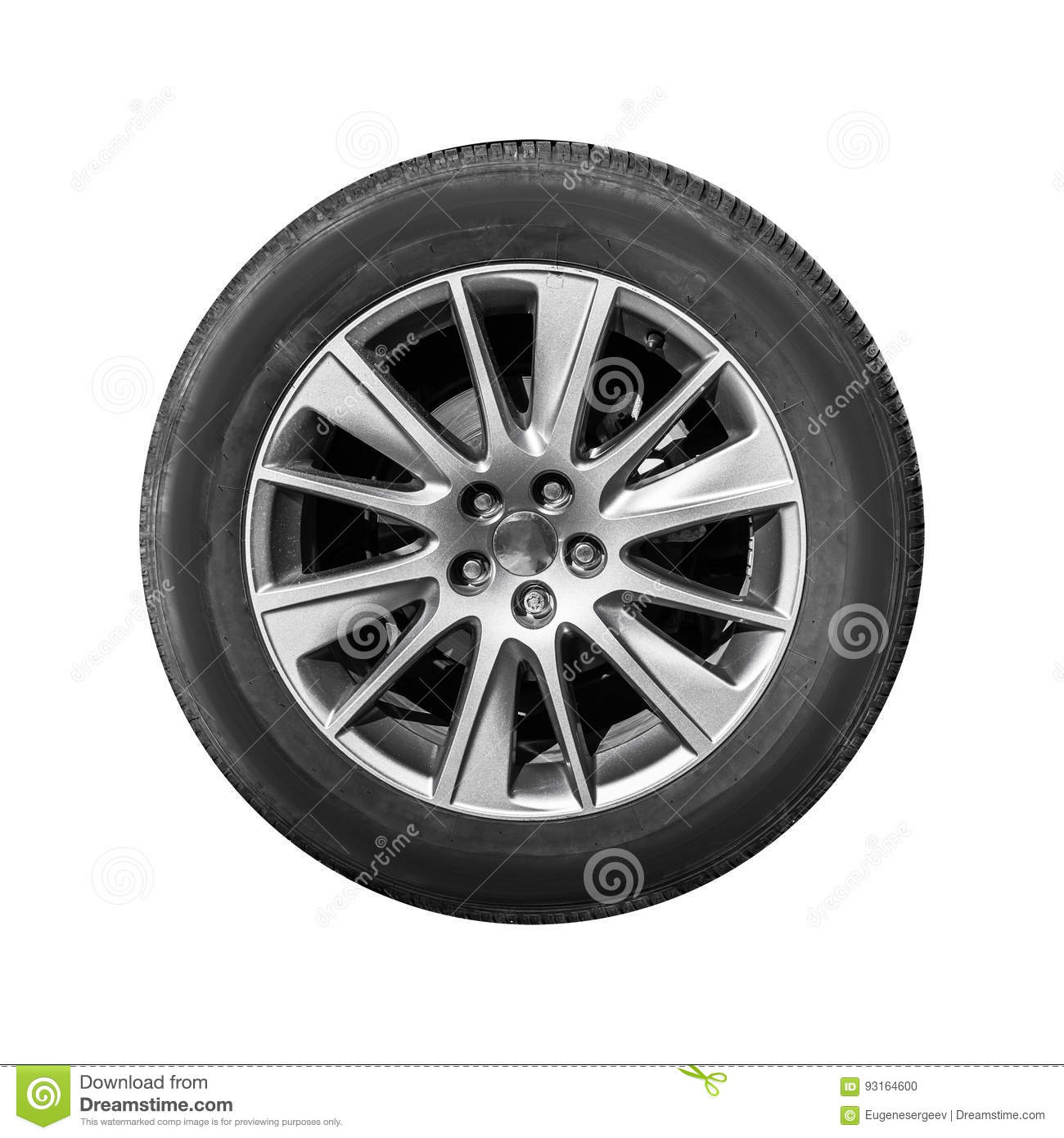 Modern crossover car wheel, front view isolated